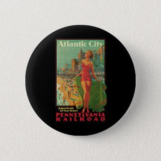 Badge Rond 5 Cm Voyage vintage, blonde de plage de station de