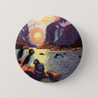 Badge Rond 5 Cm Voyage vintage, terre de fjord de la Norvège de