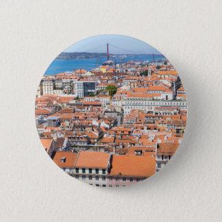 Badge Rond 5 Cm Vue aérienne de Lisbonne, Portugal