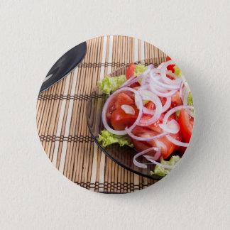 Badge Rond 5 Cm Vue en gros plan sur le petit déjeuner fait maison