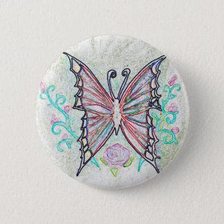 Badge Rond 5 Cm Web rouge de papillon