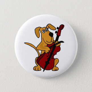 Badge Rond 5 Cm XX chiot de Brown jouant le violoncelle