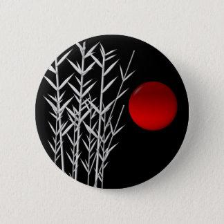 Badge Rond 5 Cm Zen rouge de blanc de noir du soleil
