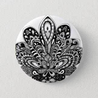 Badge Rond 5 Cm Zendoodle détaillé Lotus