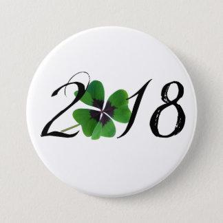 Badge Rond 7,6 Cm 2018 avec le shamrock de St Patrick