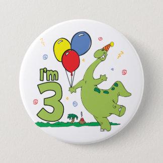 Badge Rond 7,6 Cm 3ème bouton d'anniversaire de Dino