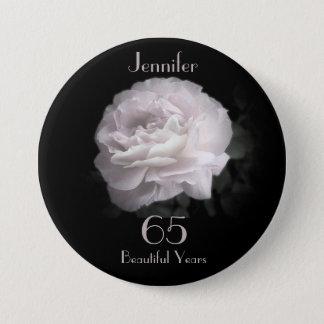 Badge Rond 7,6 Cm 65 années, pâlissent - le Pin de bouton de rose de