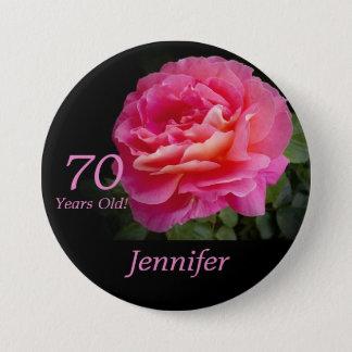 Badge Rond 7,6 Cm 70 années, Pin de bouton de rose de rose