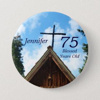 Badge Rond 7,6 Cm 75 années, Pin de bouton d'église de mère patrie