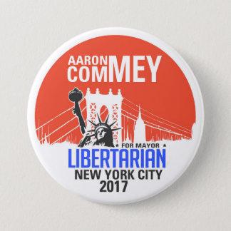 Badge Rond 7,6 Cm Aaron libertaire Commey pour le maire de NYC