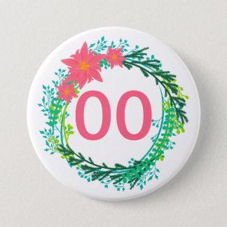 Badge Rond 7,6 Cm Anniversaire de la guirlande soixantième des