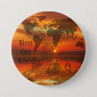 Badge Rond 7,6 Cm Bénissez notre bouton de Voyager du monde grand