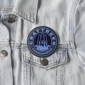 Badge Rond 7,6 Cm Bleu de connaisseur de bière de métier