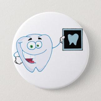 Badge Rond 7,6 Cm Bouton blanc heureux de dent