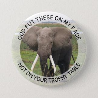 Badge Rond 7,6 Cm Bouton d'atout de défenses d'éléphant anti