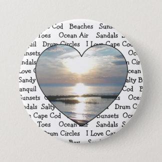 Badge Rond 7,6 Cm Bouton de coeur de Cape Cod