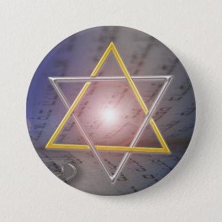 Badge Rond 7,6 Cm Bouton de judaïsme de Menorah d'étoile de David
