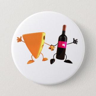 Badge Rond 7,6 Cm Bouton de vin et de fromage