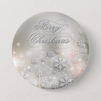 Badge Rond 7,6 Cm Bouton élégant de flocon de neige de vacances de