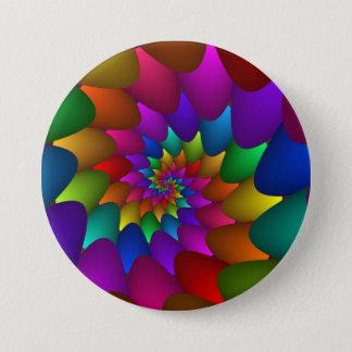 Badge Rond 7,6 Cm Bouton en spirale de globes d'arc-en-ciel