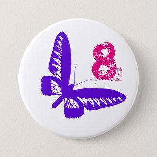 Badge Rond 7,6 Cm Bouton pourpre de papillon pour l'âge 8.