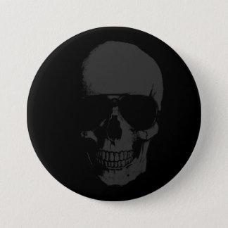 Badge Rond 7,6 Cm Bouton rond de crâne foncé