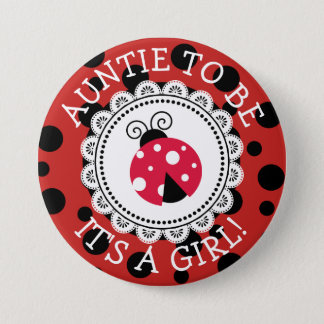Badge Rond 7,6 Cm Bouton rouge de baby shower de coccinelle de