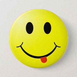 Badge Rond 7,6 Cm Bouton souriant idiot de visage avec la langue
