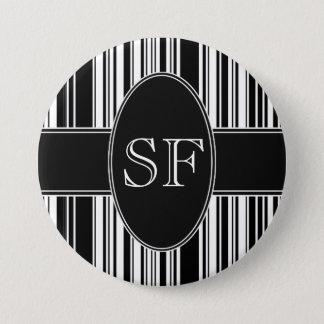 Badge Rond 7,6 Cm Code barres noir et blanc
