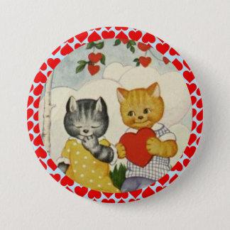 Badge Rond 7,6 Cm Coeur mignon vintage de Valentine et couples de