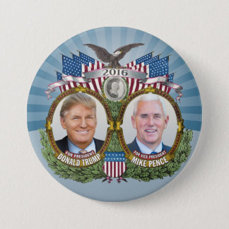 Badge Rond 7,6 Cm Conception bleue de Donald Trump et de photo de