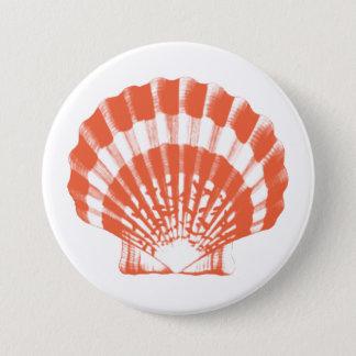 Badge Rond 7,6 Cm Coquillage - orange et blanc de corail