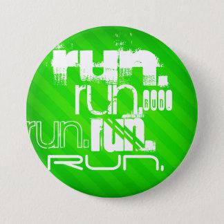 Badge Rond 7,6 Cm Course ; Rayures vertes au néon