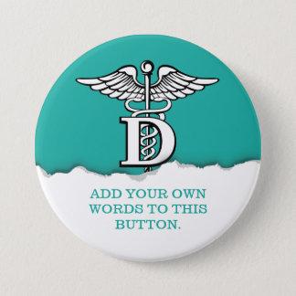 Badge Rond 7,6 Cm Coutume vert d'eau déchirée de symbole de papier