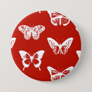 Badge Rond 7,6 Cm Croquis de papillon, rouge-foncé et blanc