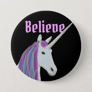 Badge Rond 7,6 Cm Croyez le bouton de licorne