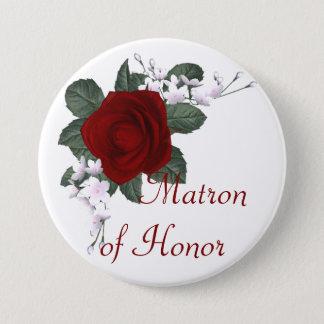 Badge Rond 7,6 Cm Dame de honneur de rose rouge de KRW épousant le