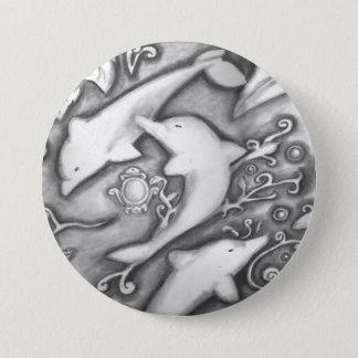 Badge Rond 7,6 Cm Dauphins en pierre