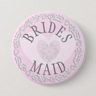 Badge Rond 7,6 Cm Demoiselle d'honneur épousant le bouton nuptiale