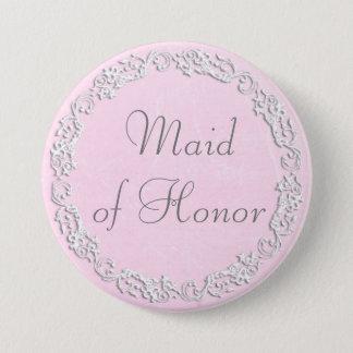 Badge Rond 7,6 Cm Domestique d'honneur épousant le bouton nuptiale