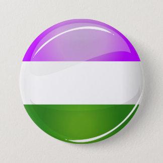 Badge Rond 7,6 Cm Drapeau rond brillant de Genderqueer