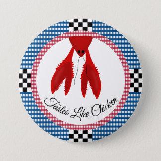 Badge Rond 7,6 Cm Ébullition bleue et rouge de damier de guingan