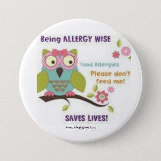 Badge Rond 7,6 Cm Étant allergie sage - insigne de conscience