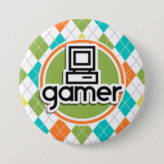 Badge Rond 7,6 Cm Gamer ; Motif à motifs de losanges coloré