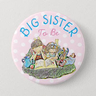 Badge Rond 7,6 Cm Grande soeur à être bouton de baby shower