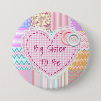 Badge Rond 7,6 Cm Grande soeur à être bouton piqué de baby shower de