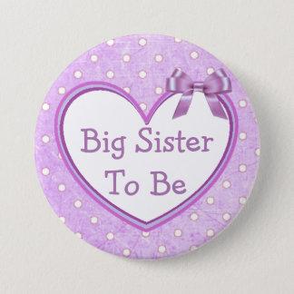 Badge Rond 7,6 Cm Grande soeur à être bouton pourpre de baby shower