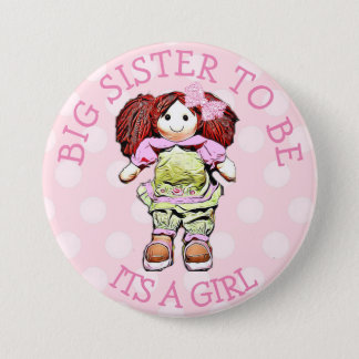 Badge Rond 7,6 Cm Grande soeur à être bouton rose de baby shower de