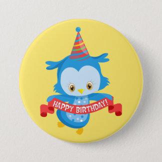 Badge Rond 7,6 Cm Hibou de joyeux anniversaire