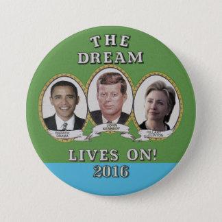 Badge Rond 7,6 Cm Hillary Clinton, Barack Obama et John Kennedy